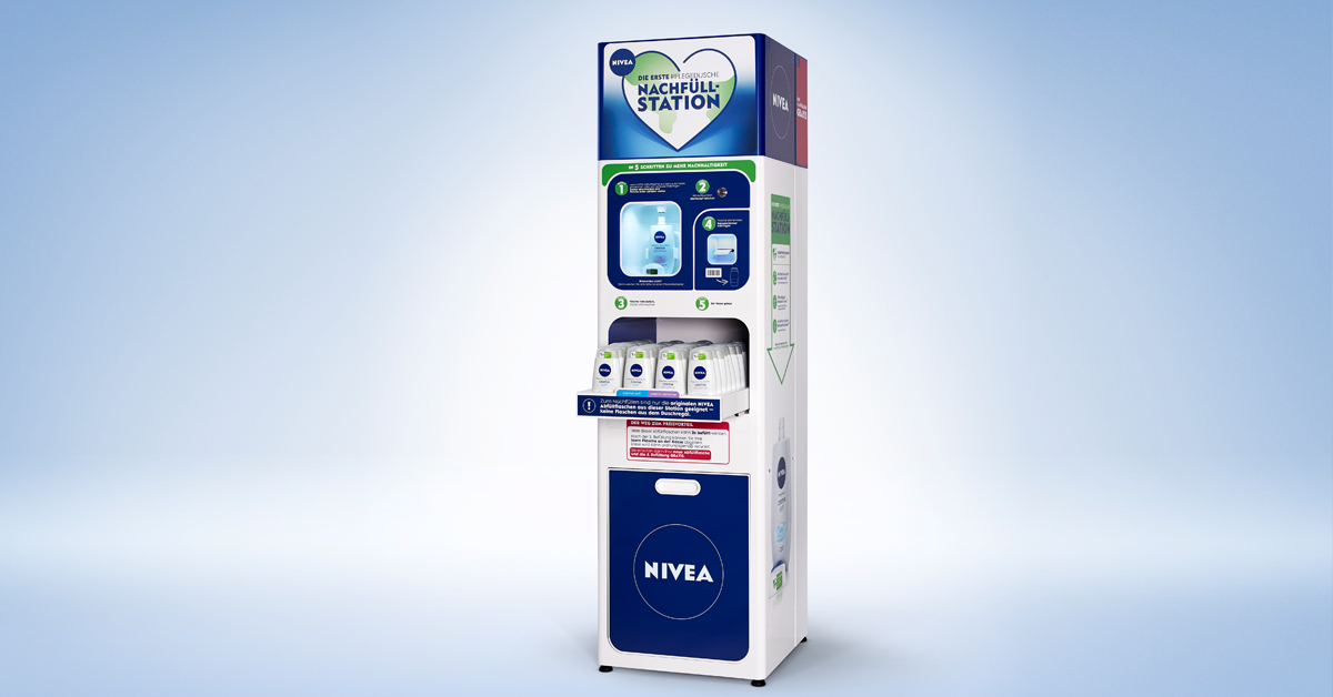 NIVEA and dm reduce packaging volume by about 75% with refill stations