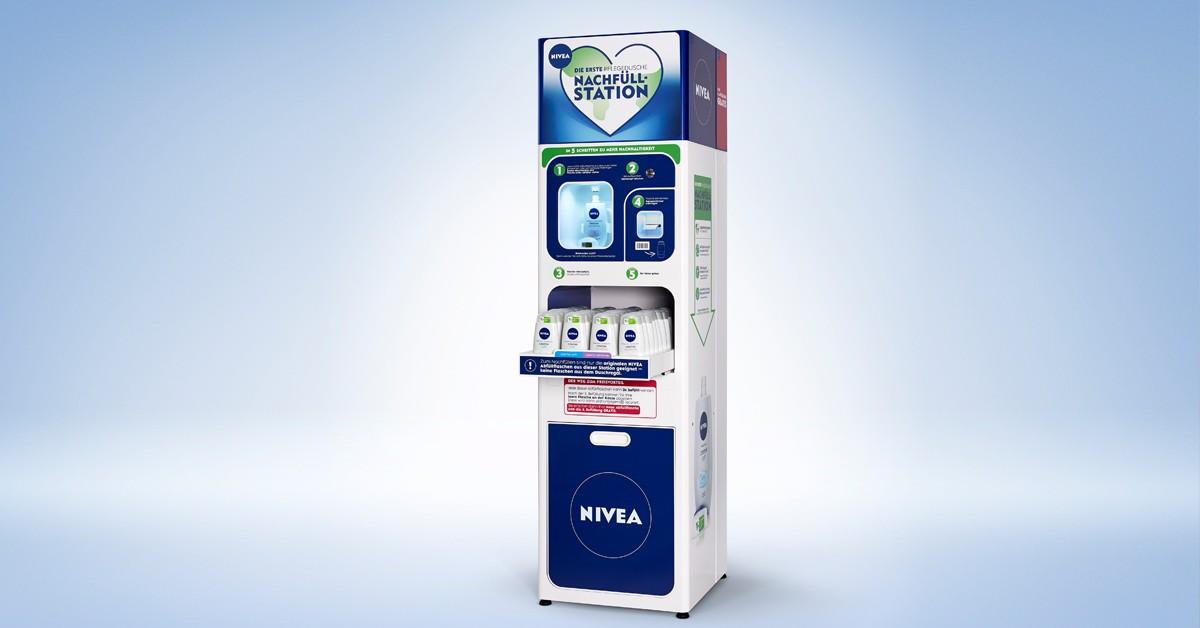 NIVEA und dm reduzieren Verpackungsaufkommen um ca. 75% mit Nachfüllstationen